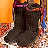 ネパールのニットブーツ・ブーツ小物・ルームシューズ
