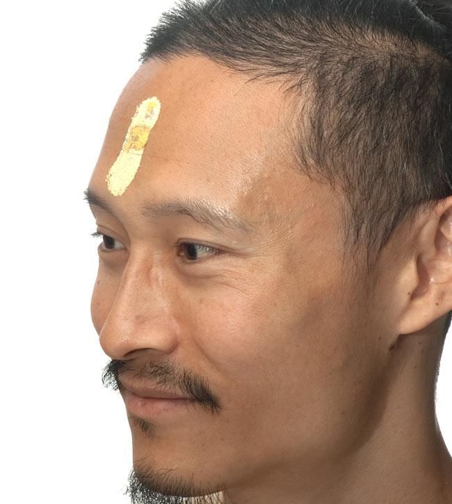 サドゥが付ける額の粉-ティッカパウダー 5 - インドパパが付けてみました。