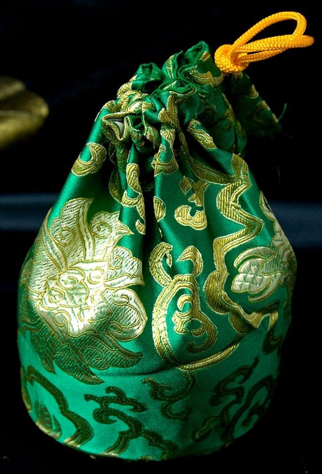 シンギングボウル用携帯巾着 大サイズ 8 - 緑色のものです