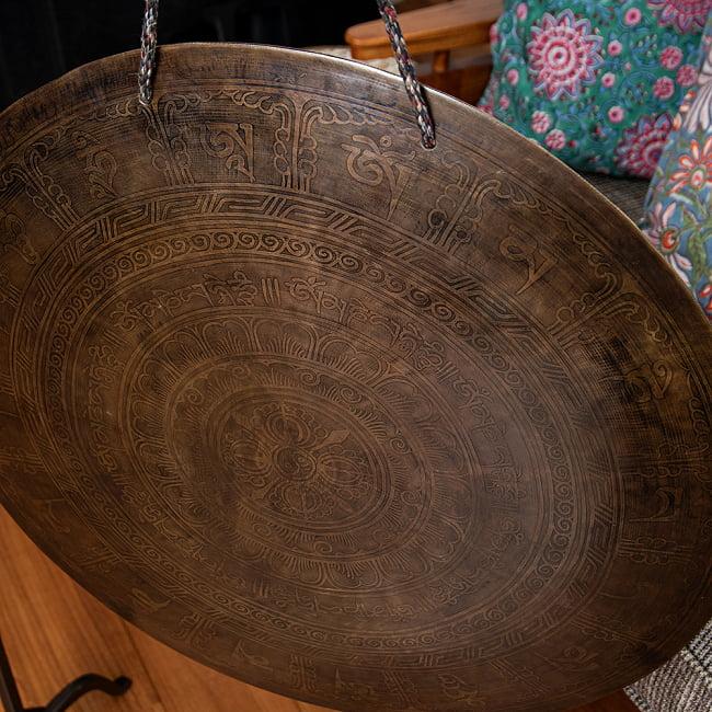 【一点物】ブラスの銅鑼 チベットやネパールの寺院で礼拝用に使用されている〔51cm 3.8Kg〕 2 - 別の角度からです