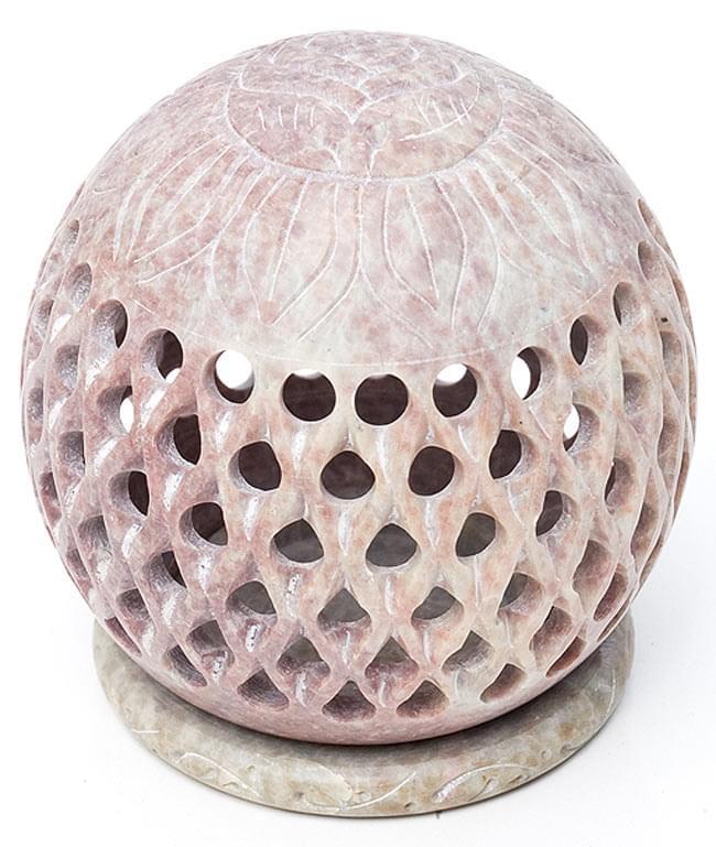 ロータス - ソープストーン丸型キャンドル&お香立ての写真