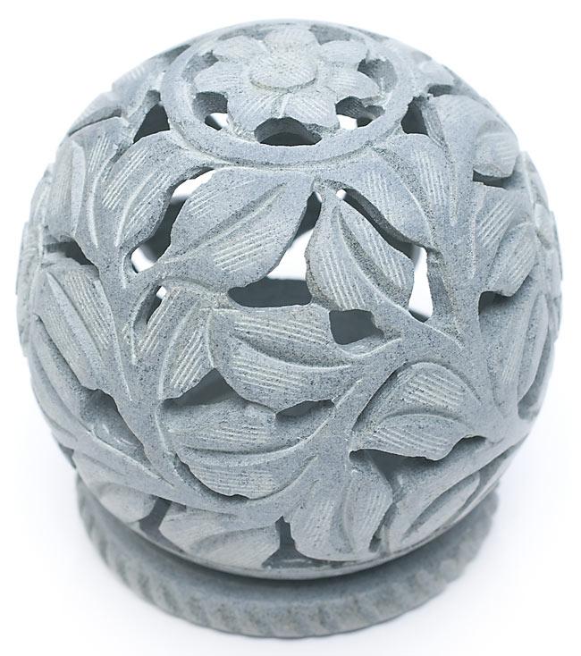 ソープストーン丸型キャンドル&お香立て - 花の写真