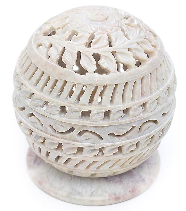 ソープストーン丸型キャンドル&お香立て - ひまわりの写真
