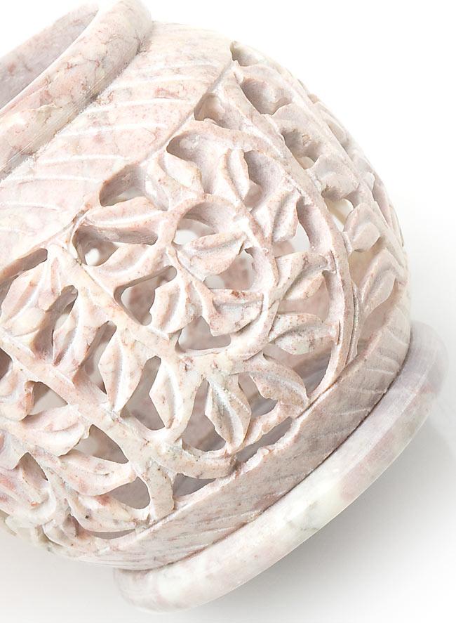 ソープストーン丸型キャンドル&お香立て - 枝模様の写真4 - 角度を変えてみてみました