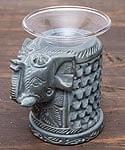 エスニック雑貨のセール品:[日替わりセール品]ソープストーンのアロマポット - 象[高さ約11cm]
