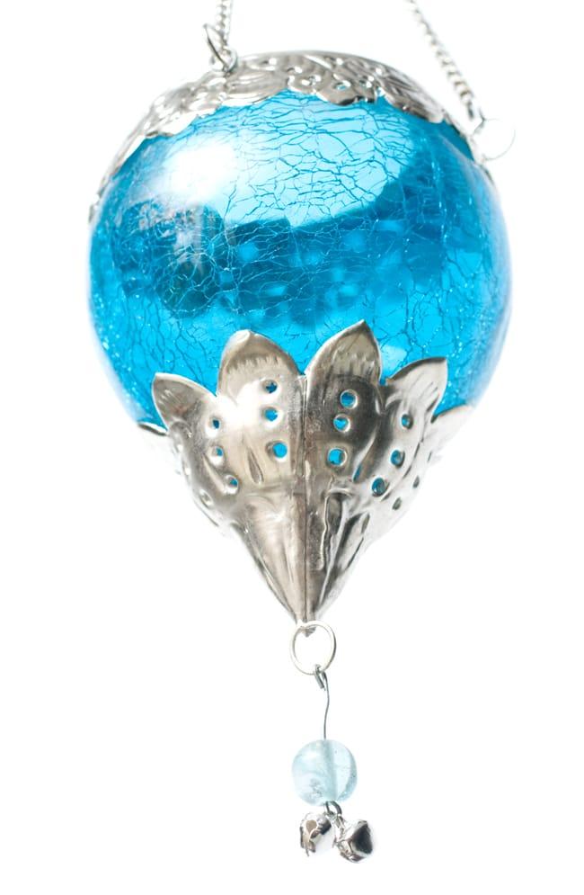 逆ドーム型ハンギングキャンドルスタンド【小】 - 水色の写真6 - このようにティーキャンドルを入れておくことができます。