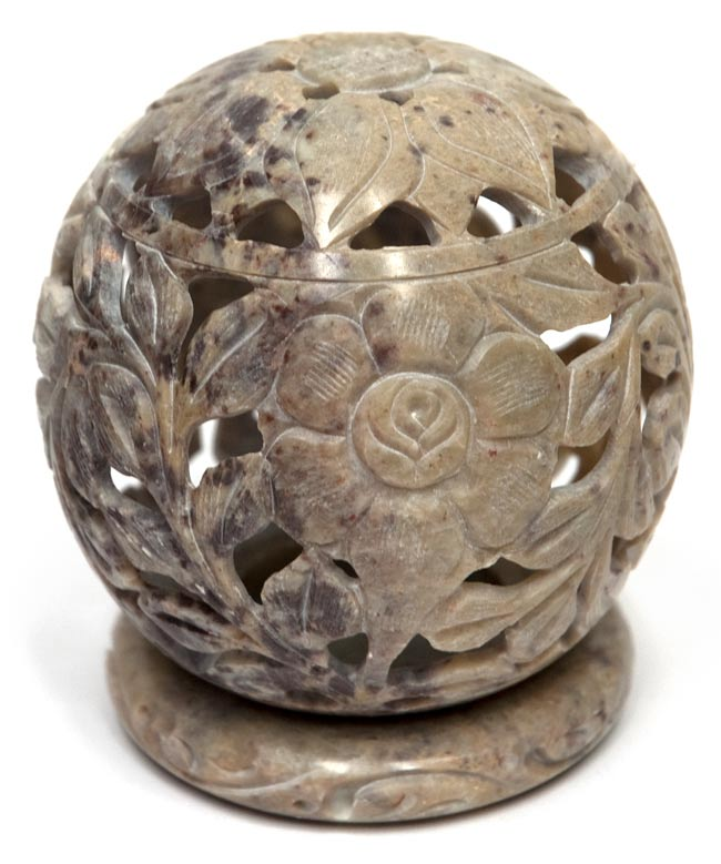 花モチーフ - ソープストーン丸形キャンドル&お香スタンドの写真