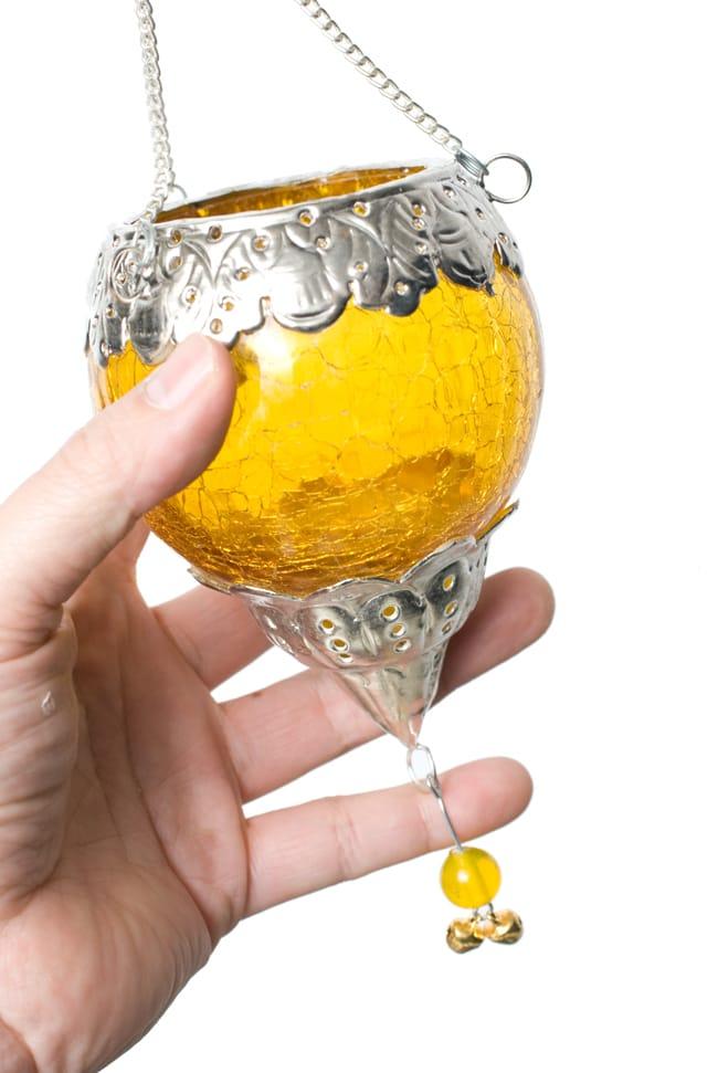 逆ドーム型ハンギングキャンドルスタンド【小】 - 黄色の写真7 - この独特のヒビ割れ加工が魅力です。