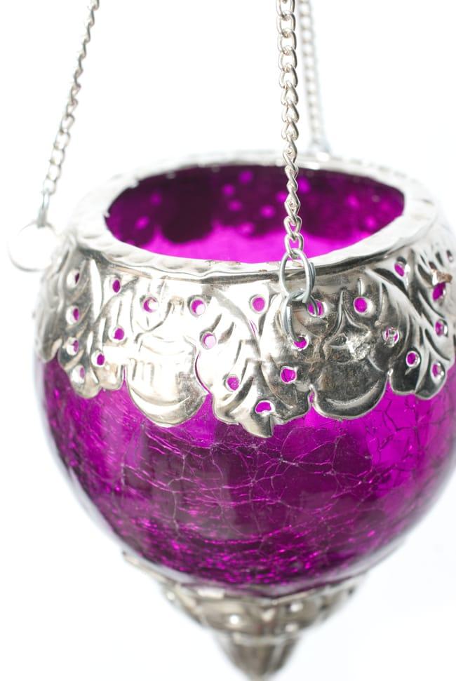 逆ドーム型ハンギングキャンドルスタンド【小】 - 紫の写真5 - 近づいてみてみました。インテリアアイテムとしておすすめの一品です。