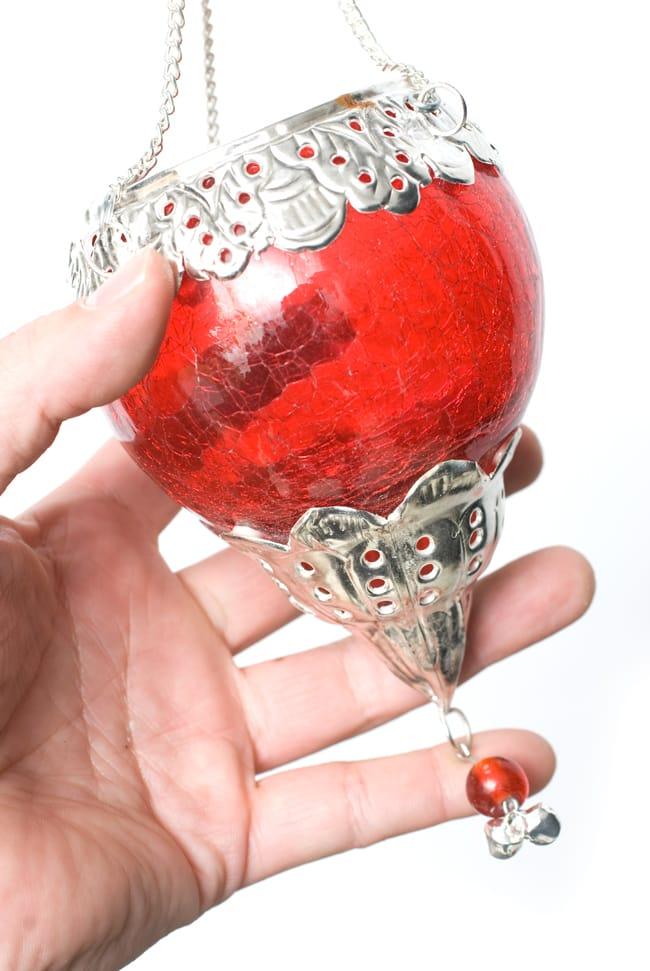 逆ドーム型ハンギングキャンドルスタンド【小】 - 赤の写真7 - この独特のヒビ割れ加工が魅力です。