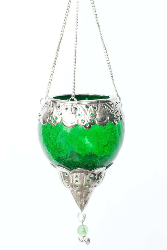 逆ドーム型ハンギングキャンドルスタンド【小】 - 緑の写真4 - 暗くして、キャンドルを入れて撮影しました。綺麗ですね