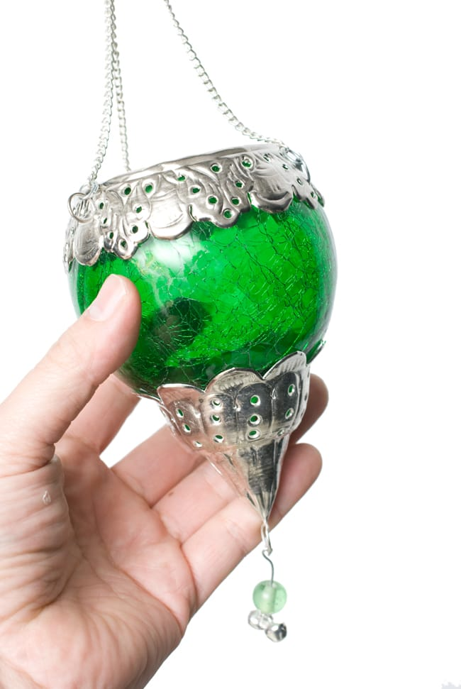 逆ドーム型ハンギングキャンドルスタンド【小】 - 緑の写真7 - この独特のヒビ割れ加工が魅力です。