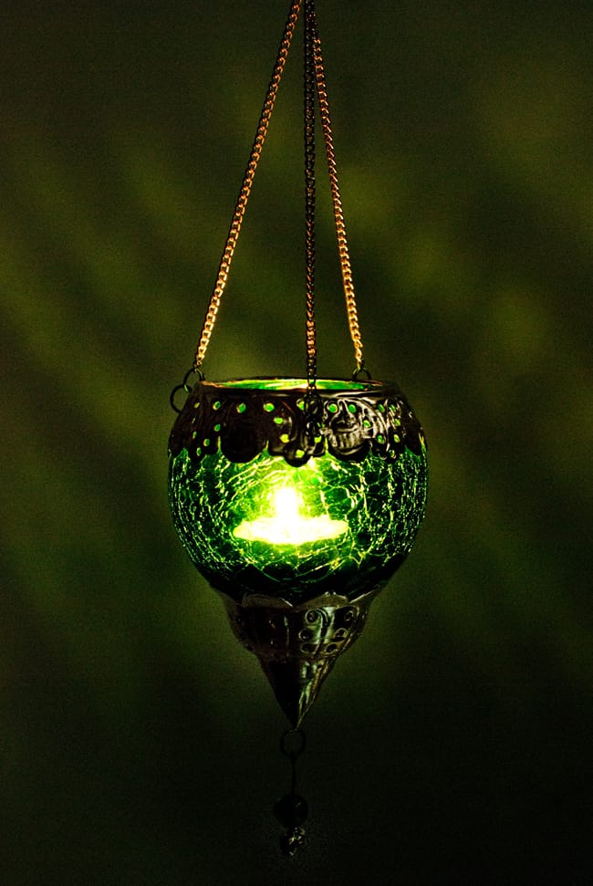 逆ドーム型ハンギングキャンドルスタンド【小】 - 緑の写真