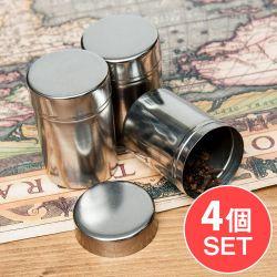 【4個セット】ステンレスのマサラケース・小物入れ[約6cm×4.2cm]