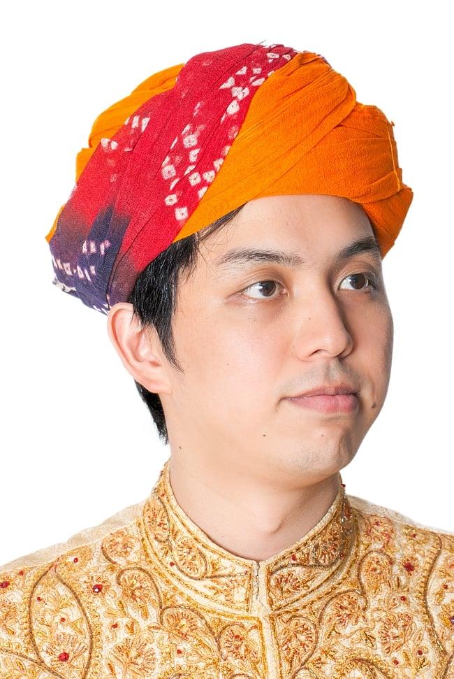 インド人になれる!ラジャスタンの本格ターバン 2 - 別の角度からみてみました。デザインA:バンディニの着用例になります。