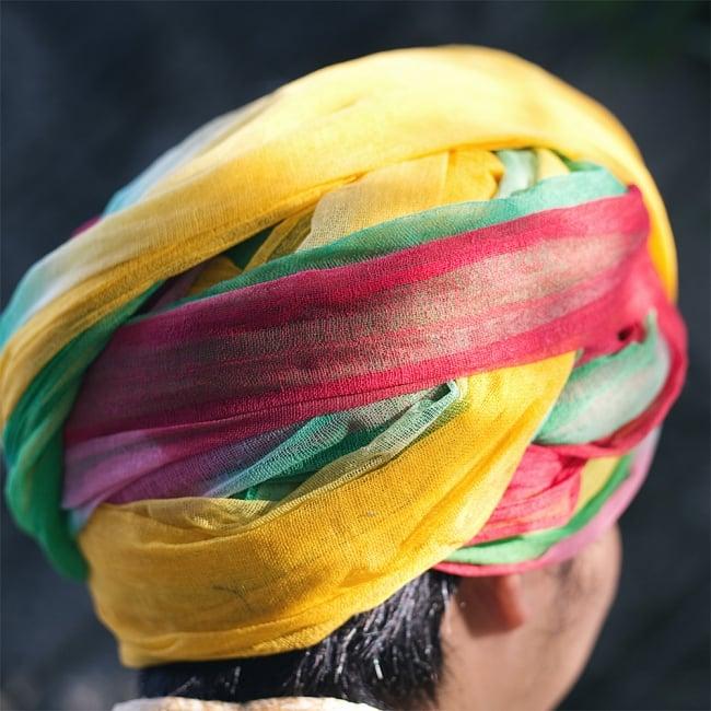 インド人になれる!ラジャスタンの本格カラフルターバン 4 - 暑い気候でも快適に過ごせるよう、メッシュ生地になっています。