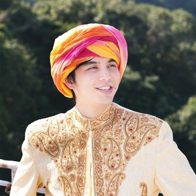 インド人になれる!ラジャスタンの本格カラフルターバンの写真