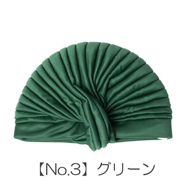 被るだけ簡単カラフルストレッチターバン 仮装に便利!インドやアラブなコスプレへ 11 - 【No.3】グリーン