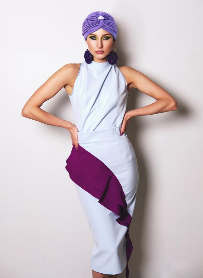被るだけ簡単カラフルストレッチターバン ラインストーン付き 仮装に便利!インドやアラブなコスプレへ 2 - モデルさんの着用例です
