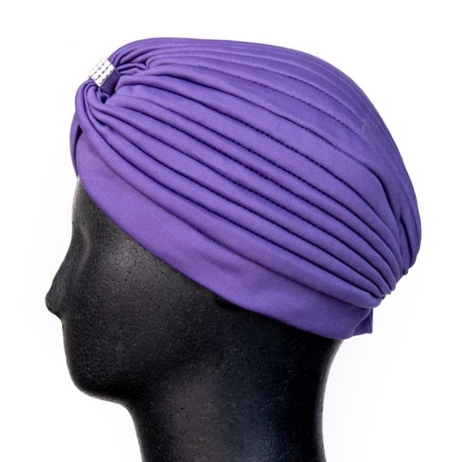 被るだけ簡単カラフルストレッチターバン ラインストーン付き 仮装に便利!インドやアラブなコスプレへ 7 - 逆サイドからの写真です