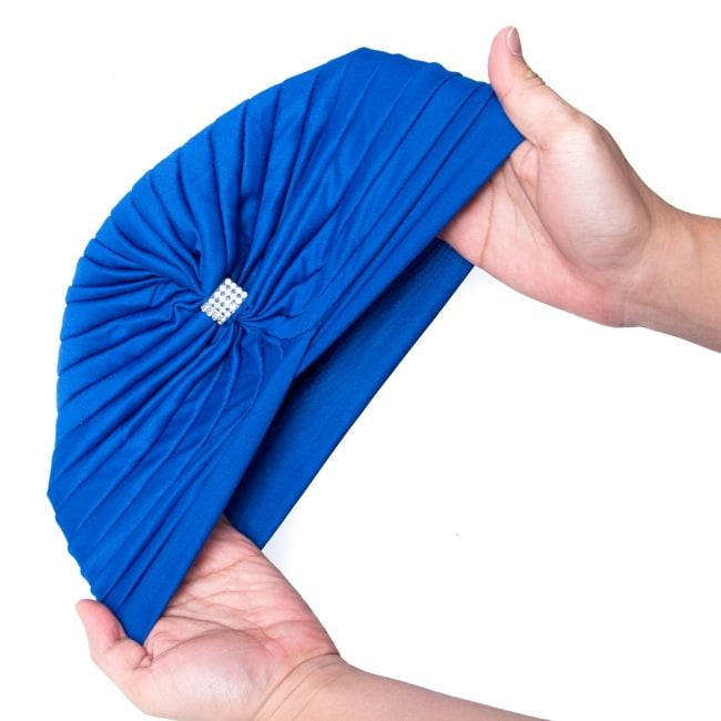 被るだけ簡単カラフルストレッチターバン ラインストーン付き 仮装に便利!インドやアラブなコスプレへ 9 - 伸縮性がある素材なので、フリーサイズです。