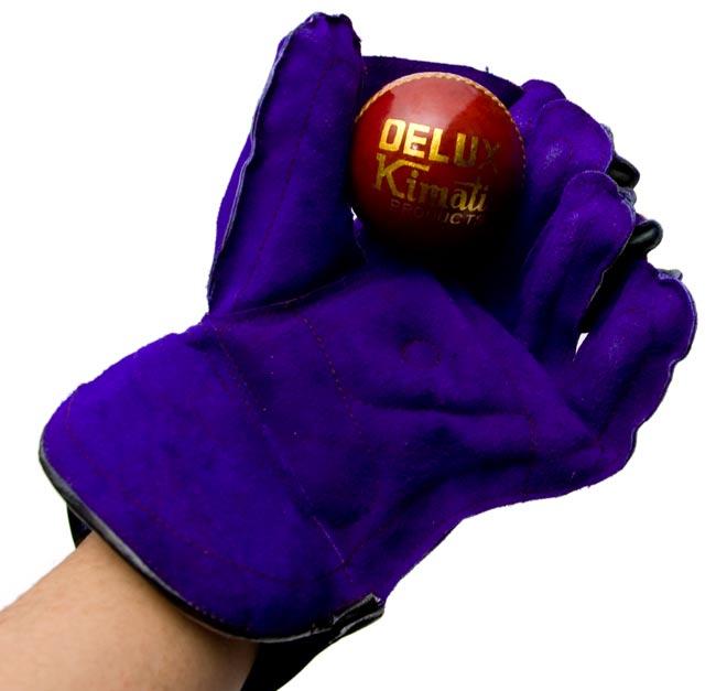キーパーグラブ - SAGAR 2 - クリケットボールを持ってみました。親指と人差し指の間にヒレがついています。