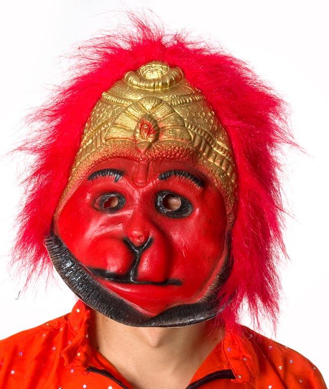 【インド品質】ホラーハヌマーンマスク お面 仮装 2 - 顔の拡大です。