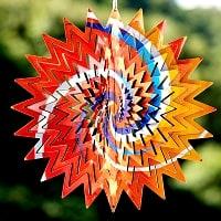 カラフルコスモスピナー 太陽で輝き風で動くモビール- サイケ柄(8インチ)