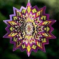 カラフルコスモスピナー 太陽で輝き風で動くモビール- 黄色と紫(12インチ)