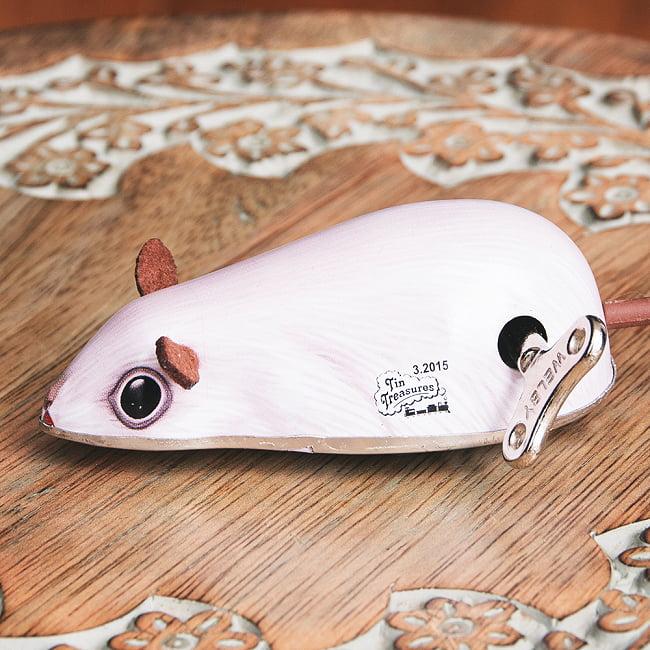 ゼンマイ式で動くネズミさん インドのレトロなブリキのおもちゃ 2 - 拡大写真です