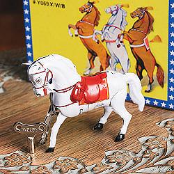 ゼンマイ式でパカパカ走る サーカスのお馬さん インドのレトロなブリキのおもちゃ