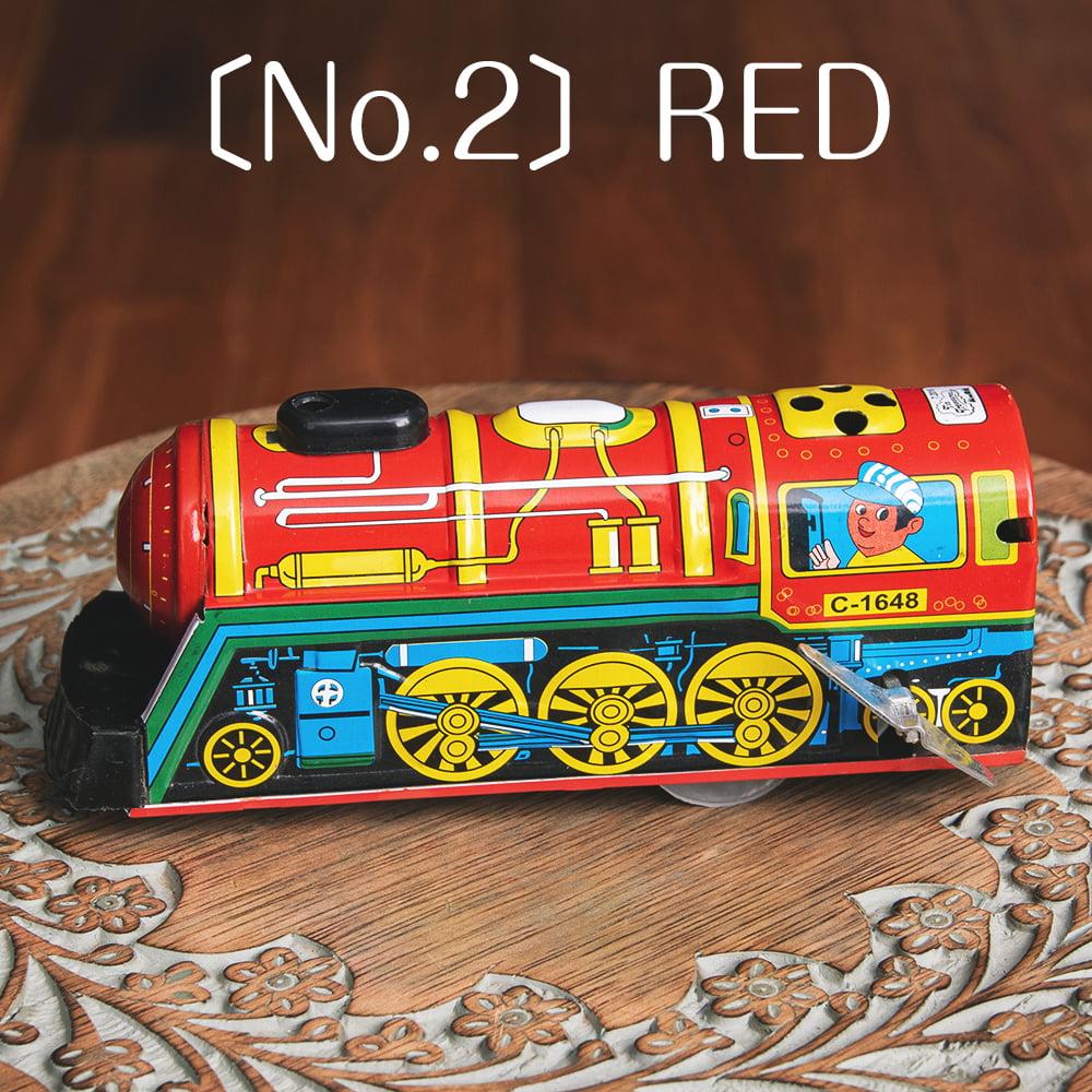 ゼンマイ式 汽笛が鳴る!大陸横断機関車 インドのレトロなブリキのおもちゃ 10 - 〔No.2〕レッド系