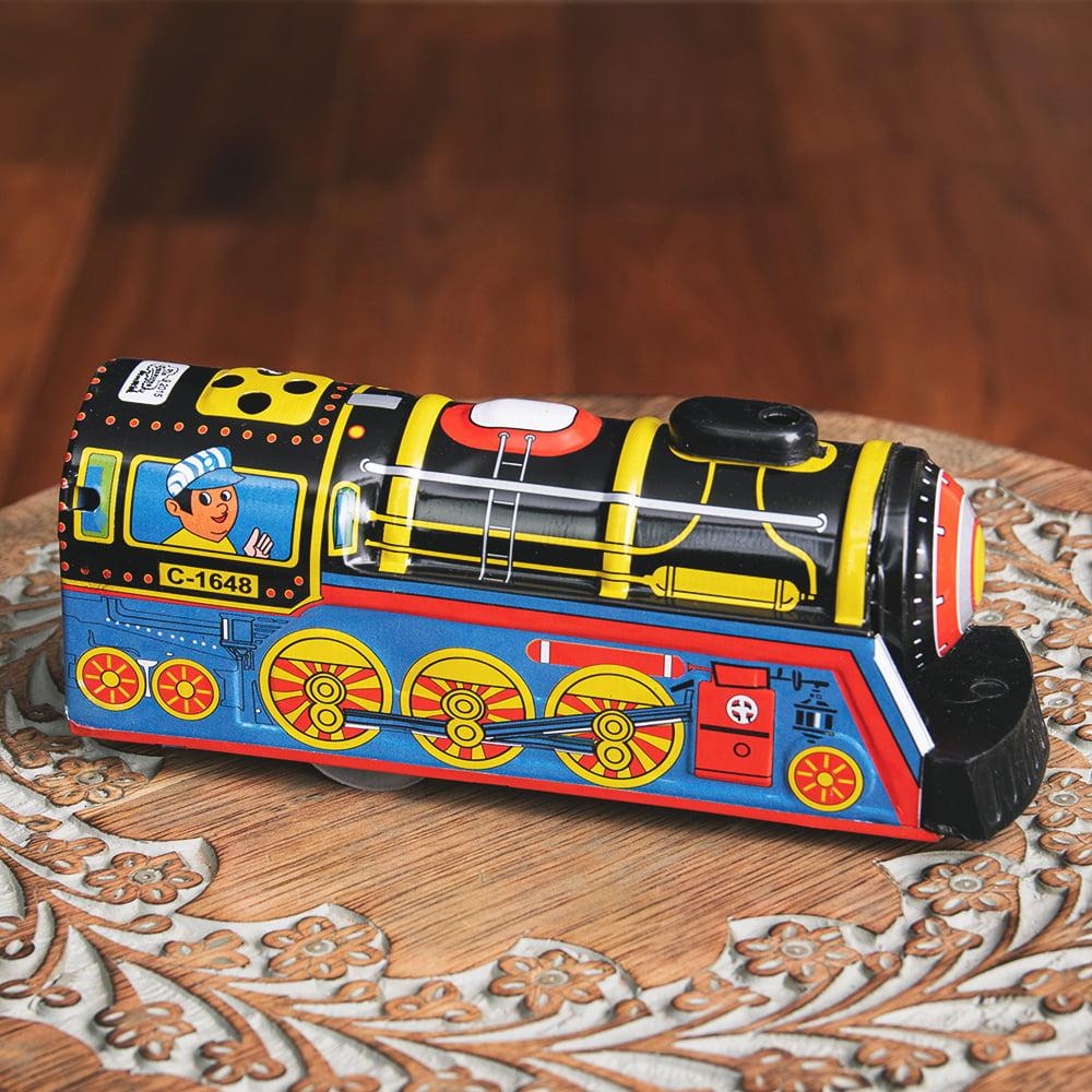 ゼンマイ式 汽笛が鳴る!大陸横断機関車 インドのレトロなブリキのおもちゃ 4 - 逆サイドです