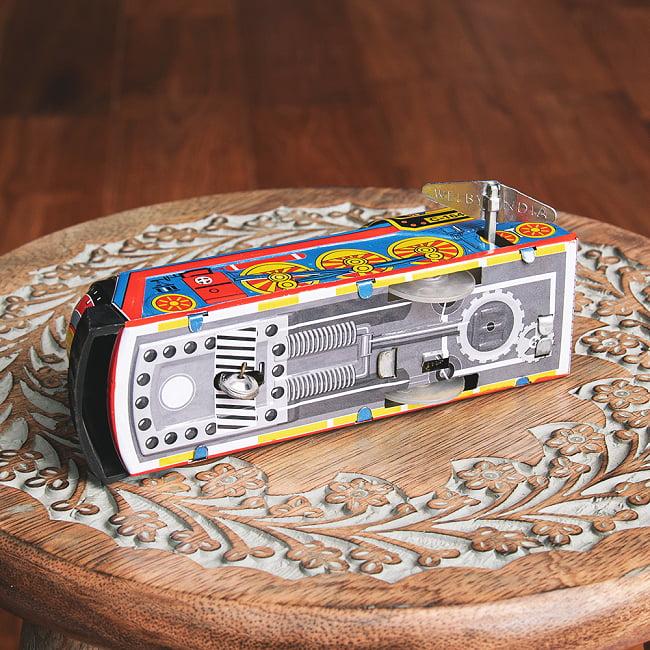 ゼンマイ式 汽笛が鳴る!大陸横断機関車 インドのレトロなブリキのおもちゃ 7 - 裏面です