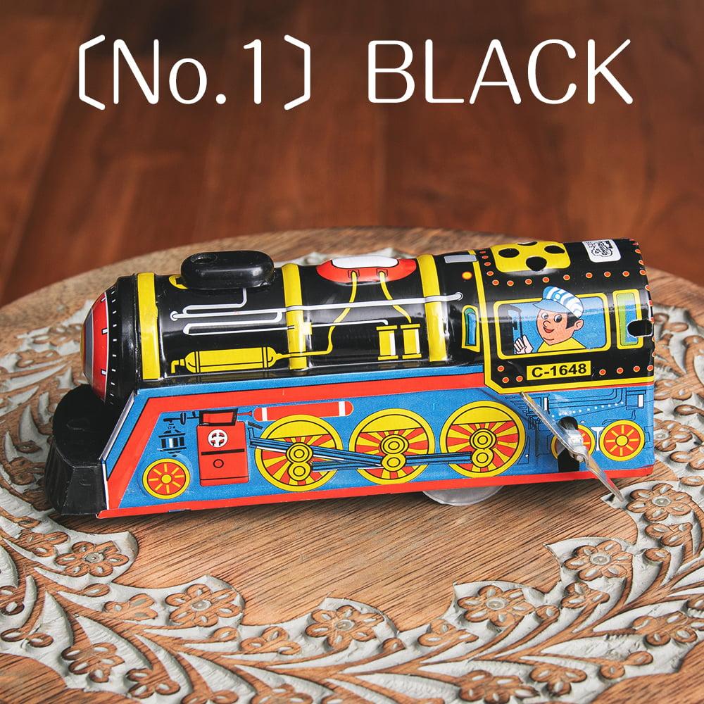 ゼンマイ式 汽笛が鳴る!大陸横断機関車 インドのレトロなブリキのおもちゃ 9 - 〔No.1〕ブラック系