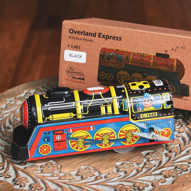 ゼンマイ式 汽笛が鳴る!大陸横断機関車 インドのレトロなブリキのおもちゃ 1