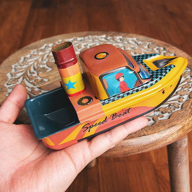 昔なつかしの大型ポンポン蒸気船 熱機関の実験にも インドのレトロなブリキのおもちゃ 8 - このくらいのサイズ感になります