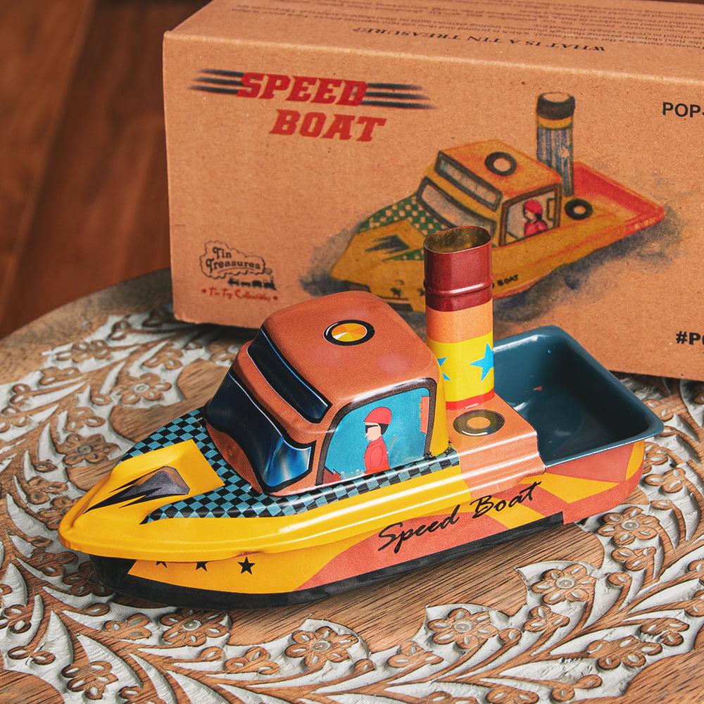 昔なつかしの大型ポンポン蒸気船 熱機関の実験にも インドのレトロなブリキのおもちゃの写真