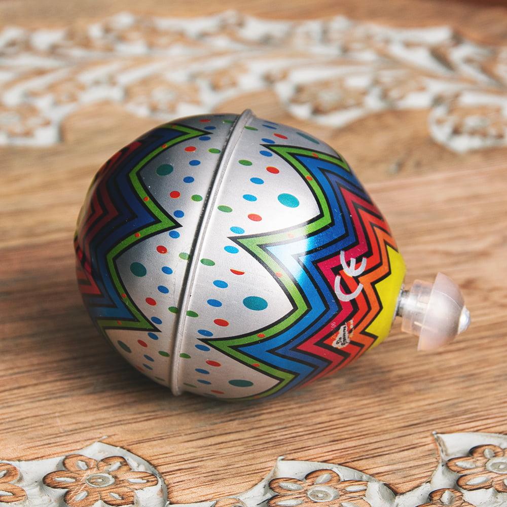 〔アソート〕フリクション式 カラフル気球コマ インドのレトロなブリキのおもちゃ 4 - 逆サイドです
