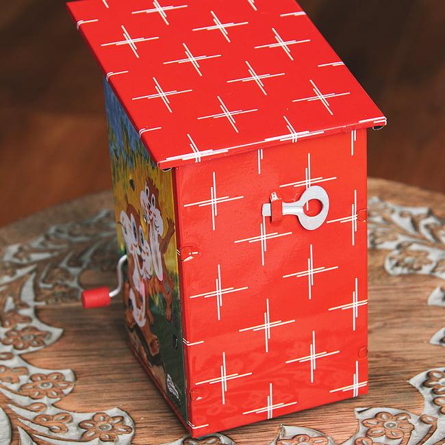 楽しく貯金!鳥さん貯金箱 インドのレトロなブリキのおもちゃ 5 - 裏面です