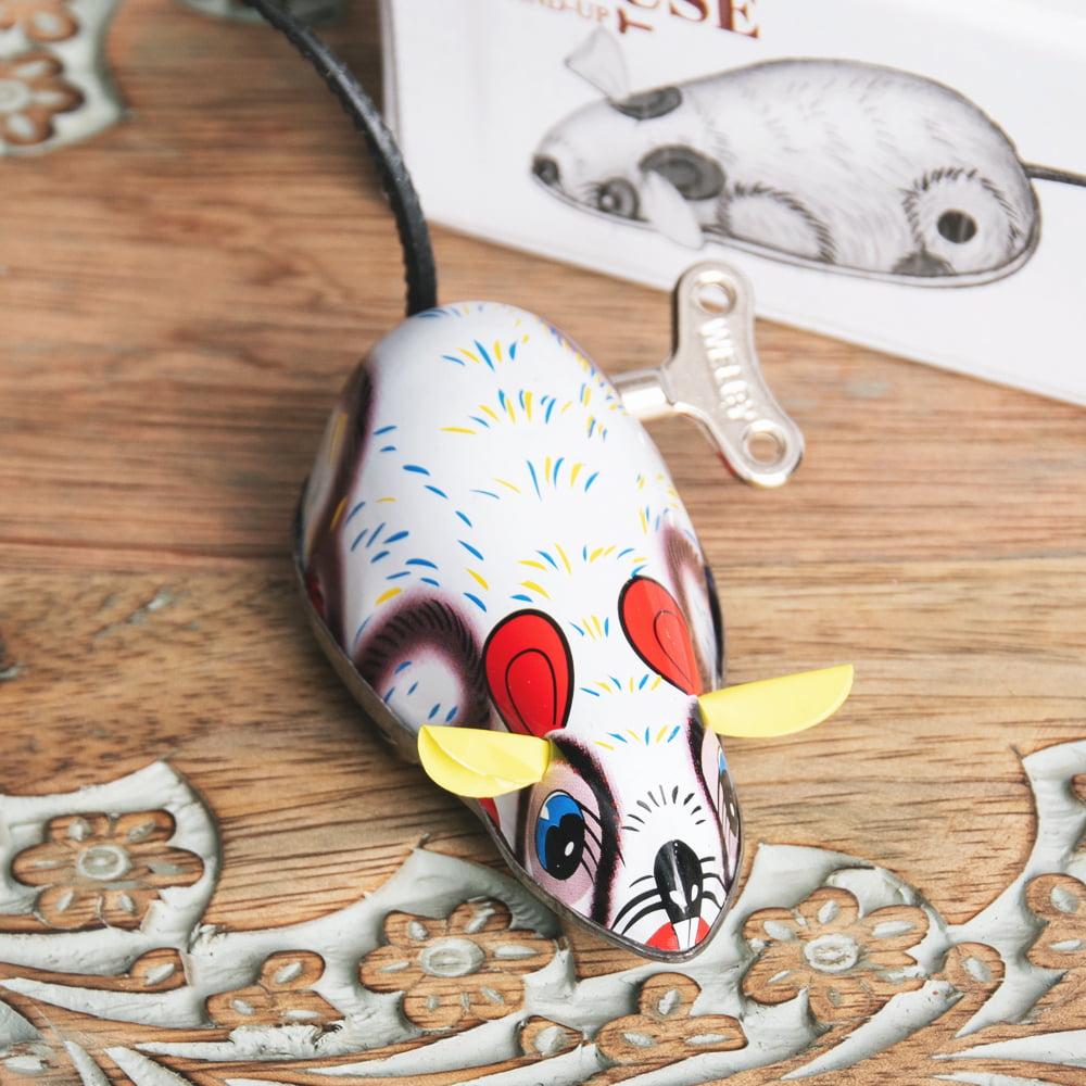 ゼンマイ式で動くカラフルネズミさん インドのレトロなブリキのおもちゃ 3 - 拡大写真です