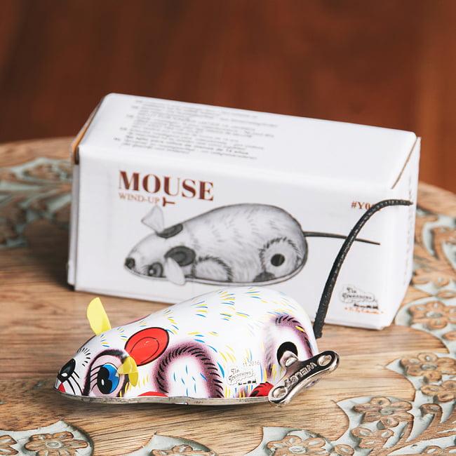 ゼンマイ式で動くカラフルネズミさん インドのレトロなブリキのおもちゃ 1