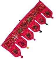 インドの飾りのれん 【花・象・タッセル】赤 アソート