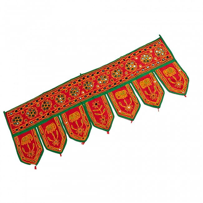インドの飾りトーラン -ぞうと花と鏡-アソート 11 - 赤明です。