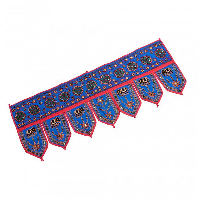 インドの飾りトーラン -ぞうと花と鏡-アソート 13 - 青暗です。
