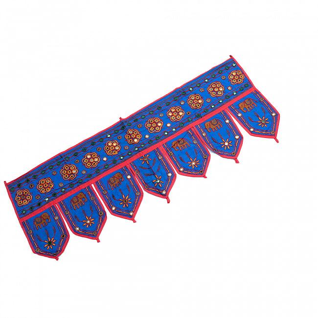 インドの飾りトーラン -ぞうと花と鏡-アソート 15 - 青明です。