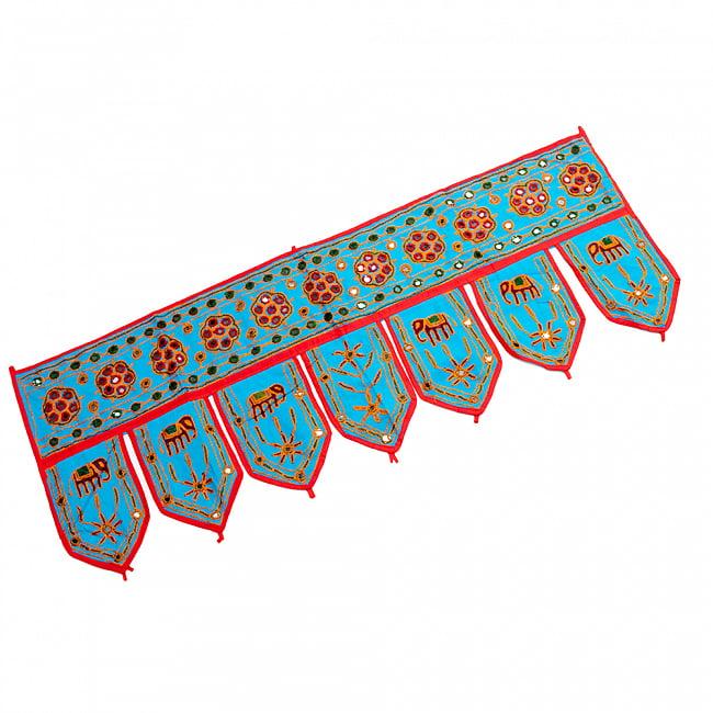 インドの飾りトーラン -ぞうと花と鏡-アソート 19 - 水色明です。