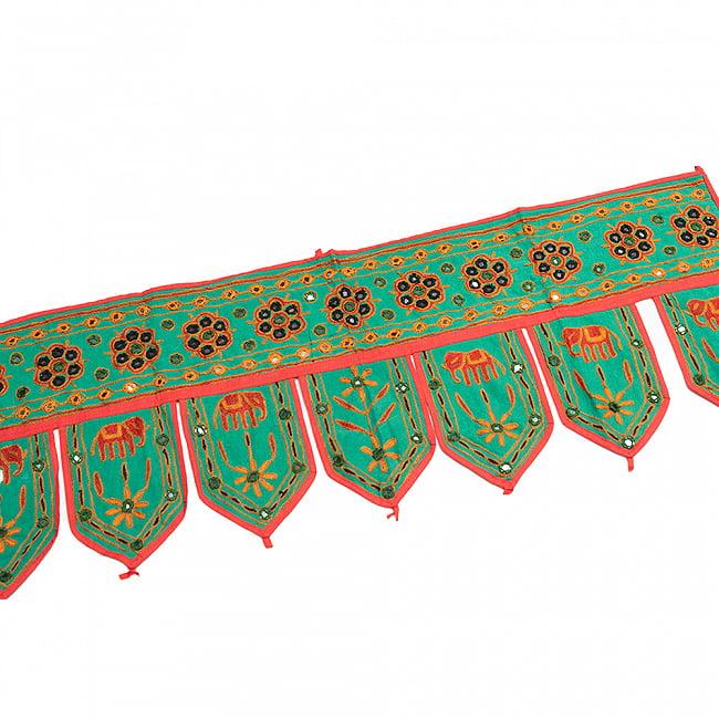 インドの飾りトーラン -ぞうと花と鏡-アソート 7 - ミント明です。
