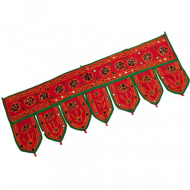 インドの飾りトーラン -ぞうと花と鏡-アソート 9 - 赤暗です。