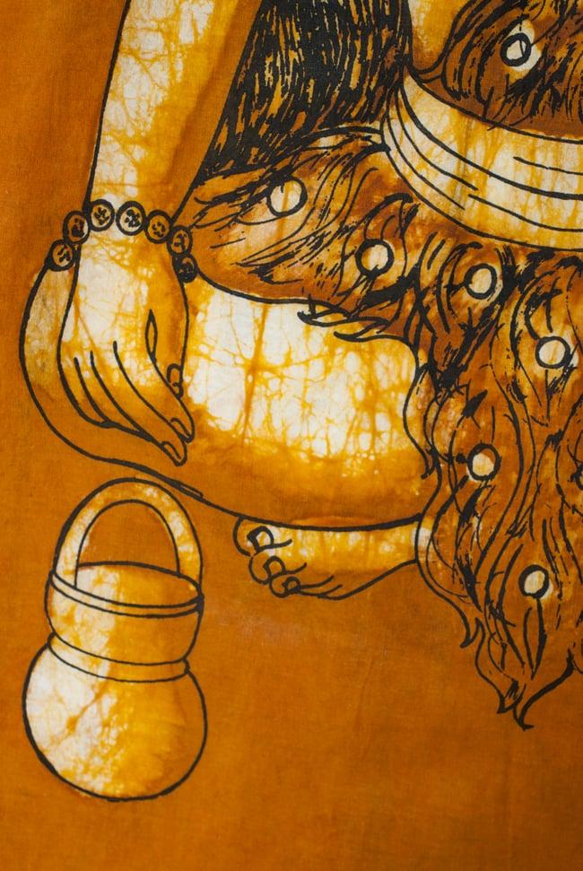 [小サイズ]バティック染めのタペストリー風神様布 - 座りシヴァ[約50x85cm]の写真3 - 柄の拡大です
